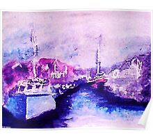 Small fishing harbor , watercolor Poster