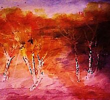 Aspens in the wash, watercolor by Anna  Lewis