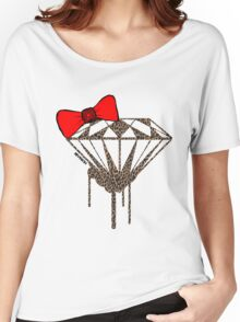 DIAMOND WITH A BOW TIE W/ LEOPARD PRINT :D Women's Relaxed Fit T-Shirt