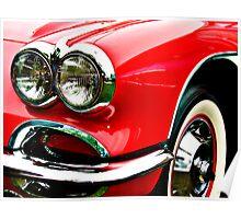 Red Corvette Headlights Poster