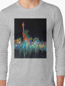 Liberty And New York Skyline Long Sleeve T-Shirt