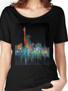 Liberty And New York Skyline Women's Relaxed Fit T-Shirt