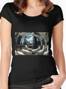 Reflection of building in an odd shaped mirror. Women's Fitted Scoop T-Shirt
