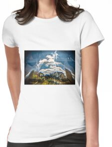Reflection of building in an odd shaped mirror. Womens Fitted T-Shirt