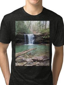 Rustic Appalachian Waterfall Scene Tri-blend T-Shirt