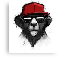 Cool Bear with Red Hat - Streetwear Style Design Canvas Print