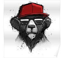 Cool Bear with Red Hat - Streetwear Style Design Poster