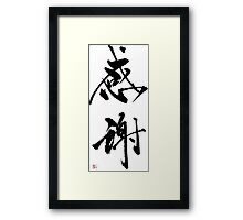 "Japanese Kanji for ""Appreciation"" Framed Print"