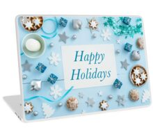 Blue Christmas decoration on wood Laptop Skin