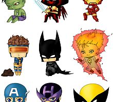 Chibi Heroes 1 by artwaste
