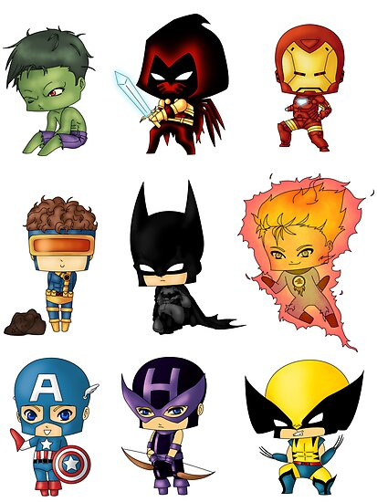 Chibi Marvel Heroes http://www.redbubble.com/people/artwaste/works/9528577-chibi-heroes-1