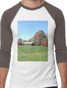 Barn on a Gently Rolling Hill Men's Baseball ¾ T-Shirt