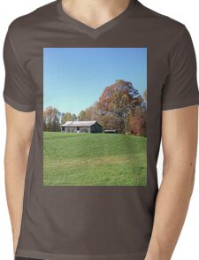 Barn on a Gently Rolling Hill Mens V-Neck T-Shirt
