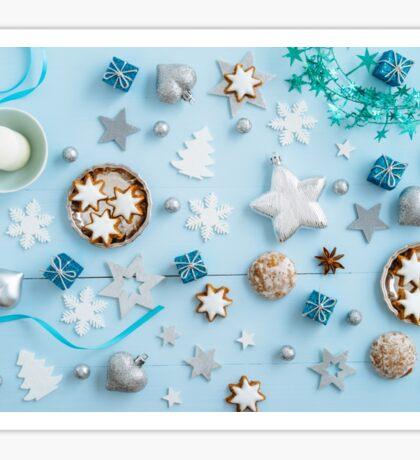 Blue Christmas decoration on wood Sticker
