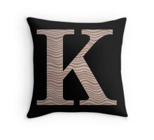 Letter K Metallic Look Stripes Silver Gold Copper Throw Pillow