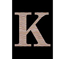 Letter K Metallic Look Stripes Silver Gold Copper Photographic Print