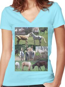 Popular & Unique Horse Collage  Women's Fitted V-Neck T-Shirt