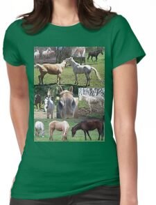 Popular & Unique Horse Collage  Womens Fitted T-Shirt