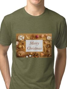 Christmas decoration on wood Tri-blend T-Shirt