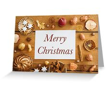 Christmas decoration on wood Greeting Card
