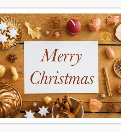 Christmas decoration on wood Sticker