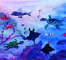 What is under the sea today, watercolor by Anna  Lewis