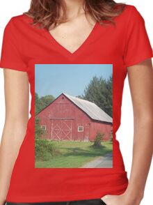 Nice Rustic Red Barn  Women's Fitted V-Neck T-Shirt