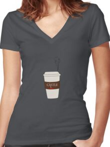 Castle coffee Women's Fitted V-Neck T-Shirt