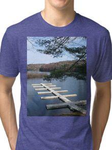 Empty Boat Docks on Lake Stevens in West Virginia Tri-blend T-Shirt