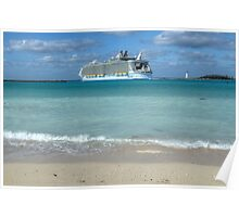 "The giant ""Allure Of The Seas"" leaving Nassau Harbour in The Bahamas Poster"