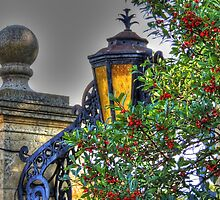 Gate Lamp Accent in Red Berries by bannercgtl10
