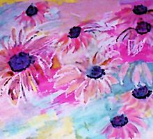 Life is so sweet, flowers to make your day happier, watercolor by Anna  Lewis, blind artist