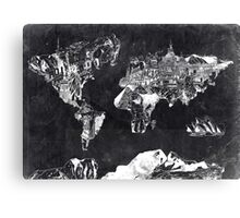 world map black and white Canvas Print