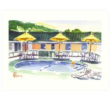 Poolside with the Three Amigos 2 Art Print