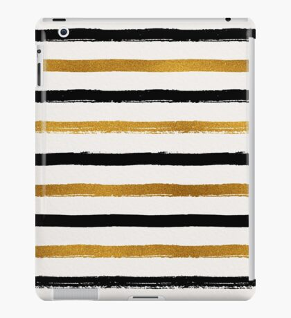 Black and Gold Foil Stripes Pattern iPad Case/Skin