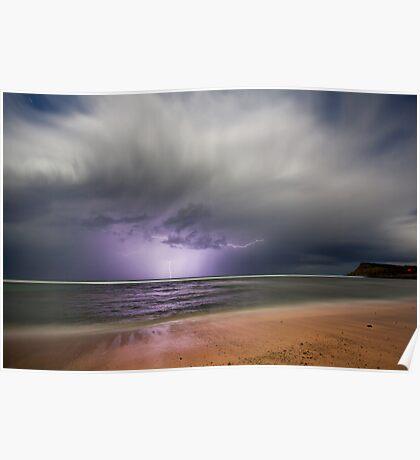 Moonlight storm at Lennox Head, NSW Poster