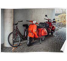 Red scooters in Berlin Poster
