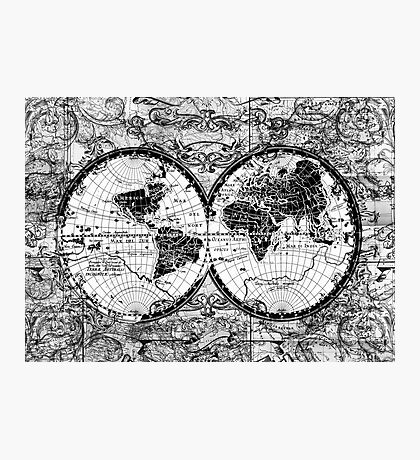 world map black and white 3 Photographic Print