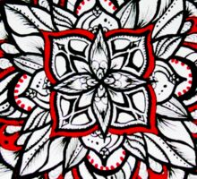 Graphic black, white & red mandala  Sticker