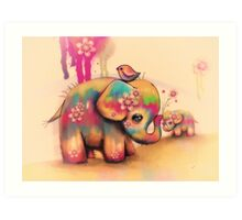 vintage tie dye elephants Art Print
