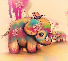 vintage tie dye elephants by © Karin  Taylor