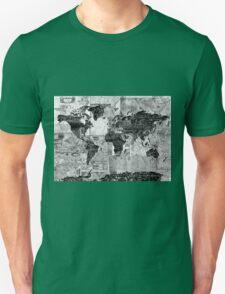 world map black and white 4 Unisex T-Shirt