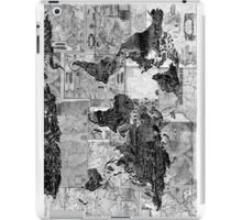 world map black and white 4 iPad Case/Skin
