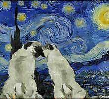 Starry Night Pugs by darklordpug