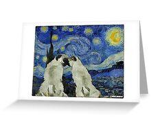 Starry Night Pugs Greeting Card