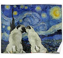 Starry Night Pugs Poster