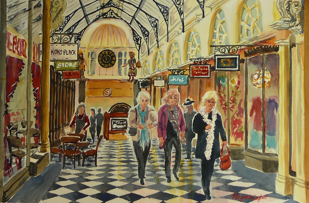 Heading for Coffee, Royal Arcade, Melbourne by Virginia  Coghill