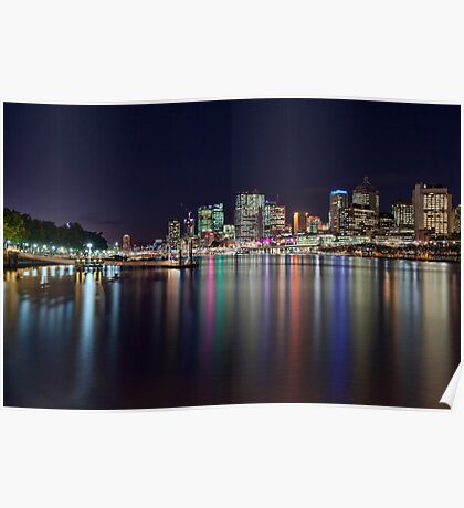 Lights of the City - South Bank, Brisbane NSW Poster