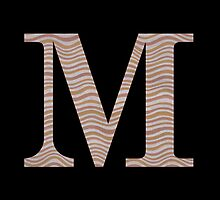 Letter M Metallic Look Stripes Silver Gold Copper by theartofvikki