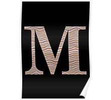 Letter M Metallic Look Stripes Silver Gold Copper Poster